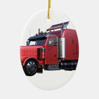 Metallic Red Semi TruckIn Three Quarter View Ceramic Oval Decoration
