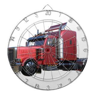 Metallic Red Semi TruckIn Three Quarter View Dartboard