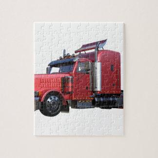 Metallic Red Semi TruckIn Three Quarter View Jigsaw Puzzle