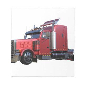 Metallic Red Semi TruckIn Three Quarter View Notepad