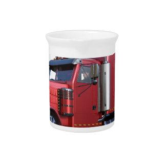Metallic Red Semi TruckIn Three Quarter View Pitcher