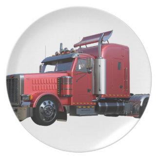 Metallic Red Semi TruckIn Three Quarter View Plate