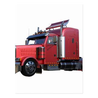 Metallic Red Semi TruckIn Three Quarter View Postcard