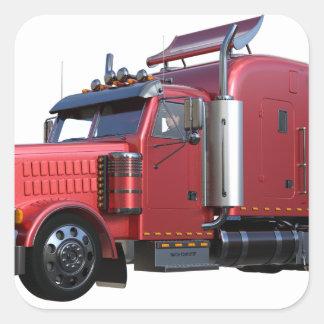 Metallic Red Semi TruckIn Three Quarter View Square Sticker