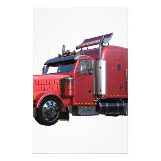 Metallic Red Semi TruckIn Three Quarter View Stationery