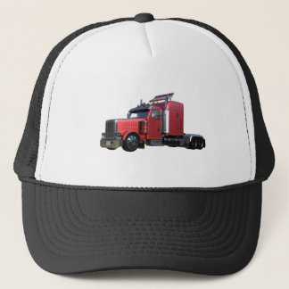 Metallic Red Semi TruckIn Three Quarter View Trucker Hat