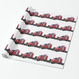 Metallic Red Semi TruckIn Three Quarter View Wrapping Paper
