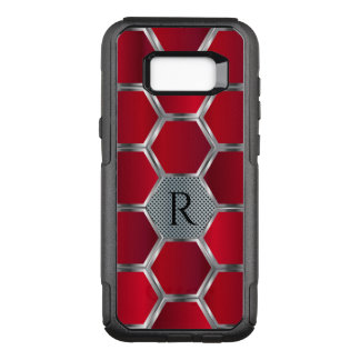 Metallic Red & Silver Geometric Pattern OtterBox Commuter Samsung Galaxy S8+ Case