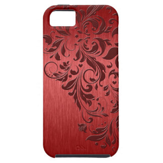Metallic Red Texture & Floral Lace iPhone 5 Cases