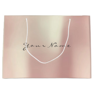 Metallic Rose Gold Blush Pearly Minimal Gift Large Gift Bag