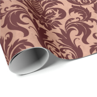 Metallic Rose Gold Copper Burgundy Maroon Damask Wrapping Paper