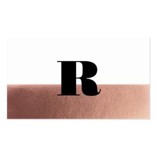 Metallic rose gold monogram dip dyed business card