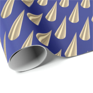 Metallic Sapphire Cobalt Blue Gold 3D Rose Spikes Wrapping Paper