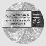 Metallic Silver 25th Wedding Anniversary Ornament Round Sticker