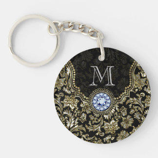 Metallic Silver And Gold Floral Damasks Key Ring