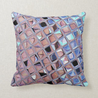 Metallic Silver Disco Ball Mirrors Faux Throw Pillow