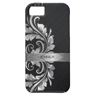 Metallic Silver Floral Swirl Black Background iPhone 5 Cases