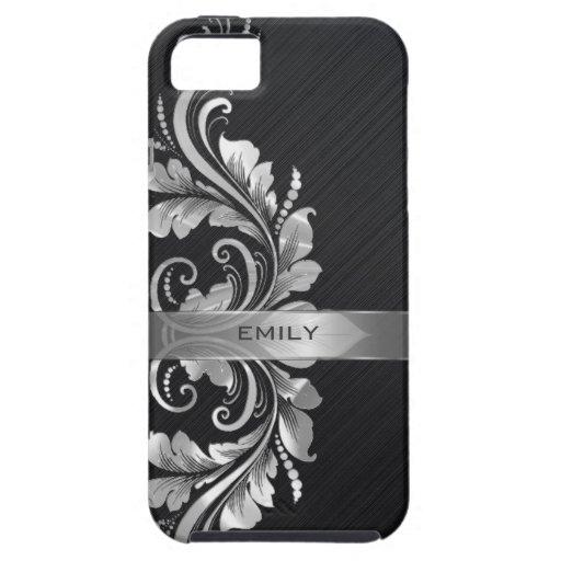 Metallic Silver Floral Swirl Black Background iPhone 5 Case