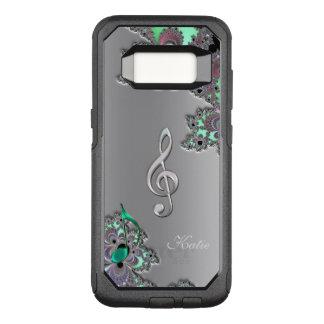 Metallic Silver Fractal Music Clef Galaxy S8 Case