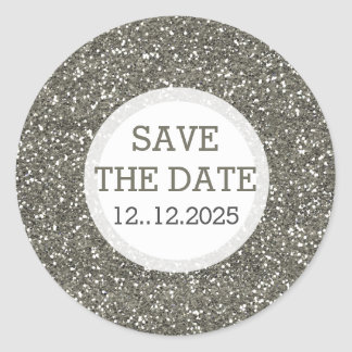 Metallic Silver Glitter Save The Date Classic Round Sticker