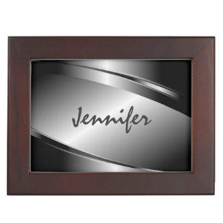 Metallic Silver Gray Brushed Aluminum Look Keepsake Box