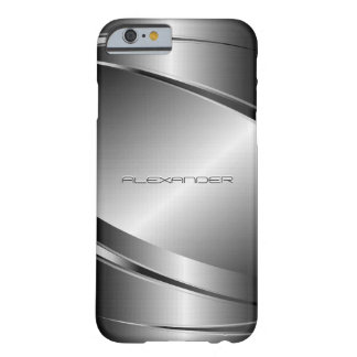 Metallic Silver Gray Geometric Design Barely There iPhone 6 Case