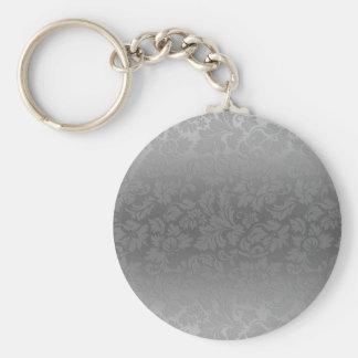 Metallic Silver Gray Monochromatic Floral Damasks Basic Round Button Key Ring