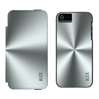 Metallic Silver-Gray Stainless-Steel Look Incipio Watson™ iPhone 5 Wallet Case