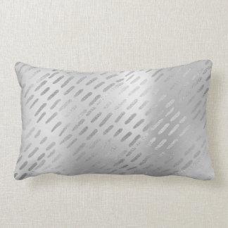 Metallic Silver Gray Steel Lines Minimalism Pillow