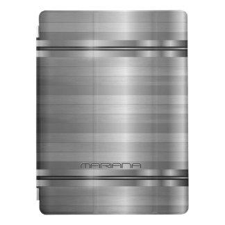 Metallic Silver Gray Stripes Pattern iPad Pro Cover