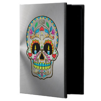 Metallic Silver Gray With Colorful Sugar Skull Powis iPad Air 2 Case