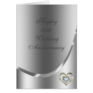 Metallic Silver Gray With Diamonds Heart Greeting Card