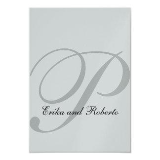 Metallic SIlver Paper Initial Wedding Reception 9 Cm X 13 Cm Invitation Card