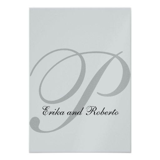 Metallic SIlver Paper Initial Wedding Reception Custom Announcement