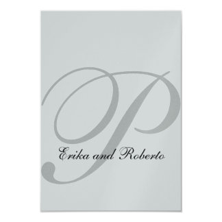 Metallic Silver Paper Monogram Wedding RSVP Cards 9 Cm X 13 Cm Invitation Card