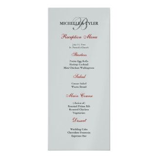 Metallic Silver & Red Monogram Wedding Menu 10 Cm X 24 Cm Invitation Card