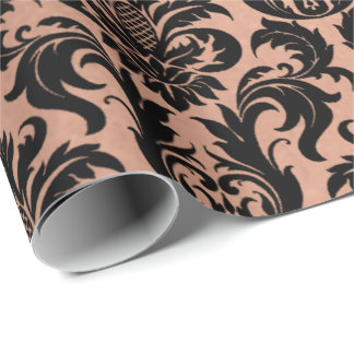 Metallic Skinny Rose Gold Copper Gray Black Damask Wrapping Paper