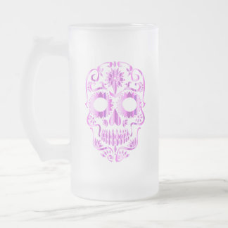 Metallic Skull Frosted Glass Beer Mug