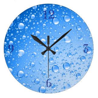 Metallic Sky Blue Rain Drops Wall Clocks