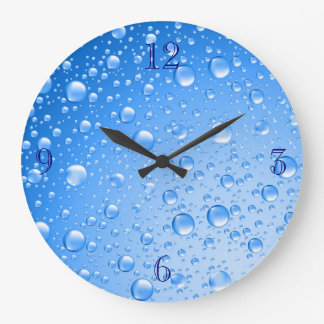 Metallic Sky Blue Rain Drops Large Clock