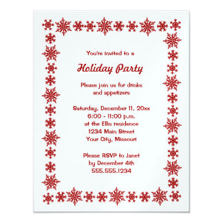 Metallic Snowflake Holiday Party Invitations