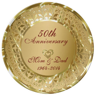Metallic Sparkling Gold 50th Anniversary Porcelain Plate