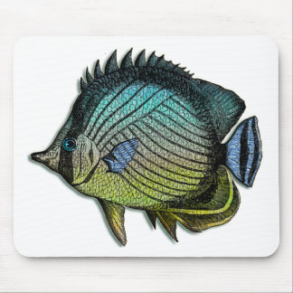 Metallic Striped Tropical Butterfly  Fish Mouse Pad