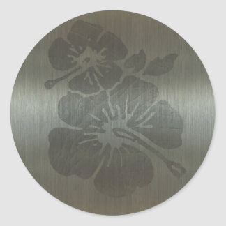 Metallic style engraved flower classic round sticker