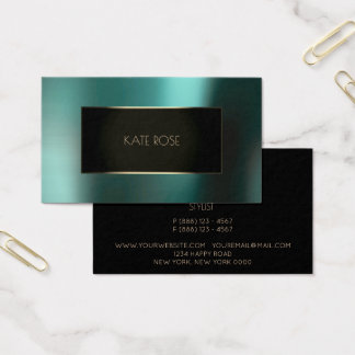Metallic Teal Aquatic Black Champaign Frame Vip Business Card