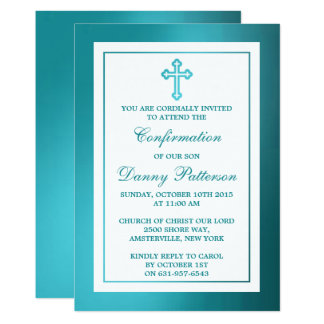 Metallic Teal Cross Holy Communion Or Confirmation 13 Cm X 18 Cm Invitation Card