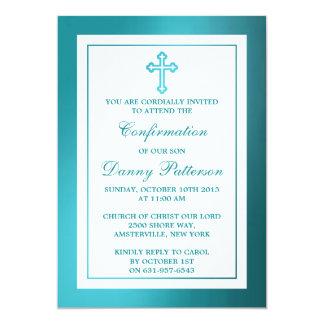 "Metallic Teal Cross Holy Communion Or Confirmation 5"" X 7"" Invitation Card"