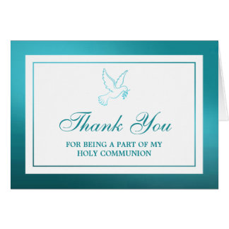 Metallic Teal Dove Holy Communion Or Confirmation Card