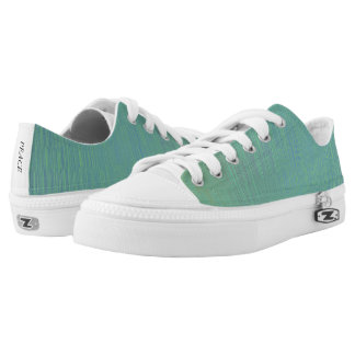 Metallic Teal Texture Pattern Low Top Canvas Shoes Printed Shoes