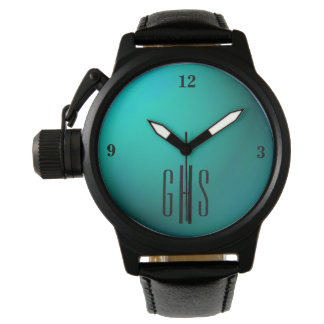 Metallic Teal Watch with 3-Initial Monogram
